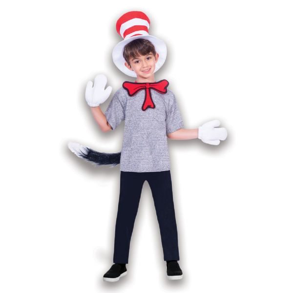 Adults Cat In The Hat Accessory Set Licensed Dr Seuss Fancy Dress Outfit